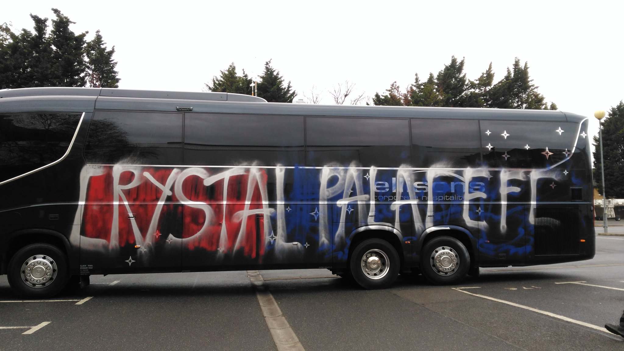 Palace team coach vandalised before home match
