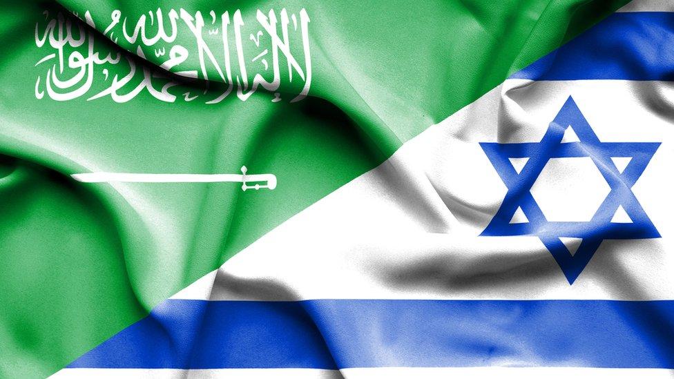 Banderas saudita e israelita.