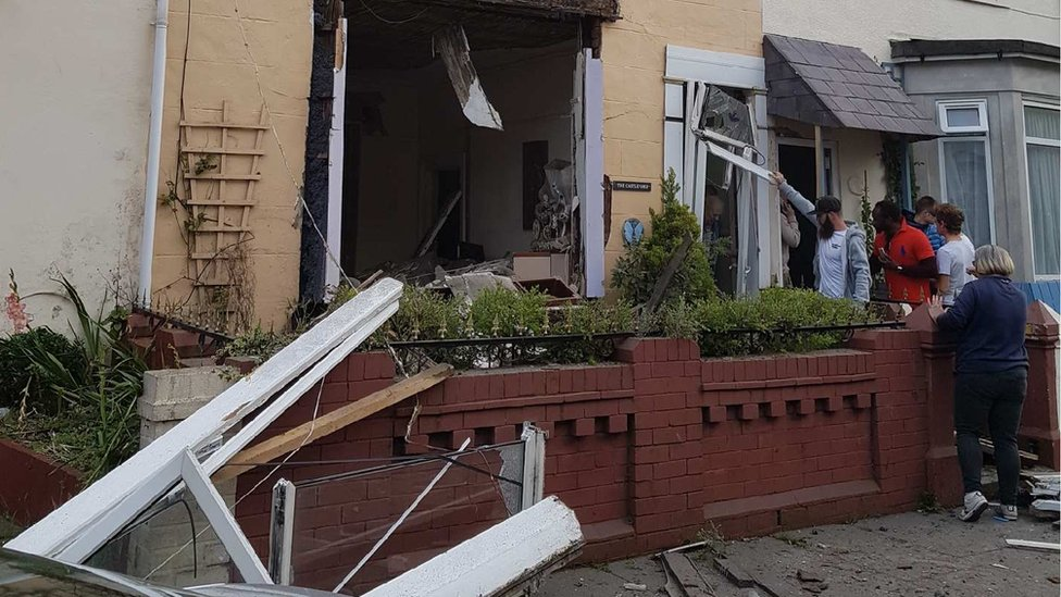 Blackpool guest house 'gas explosion': Four people hurt