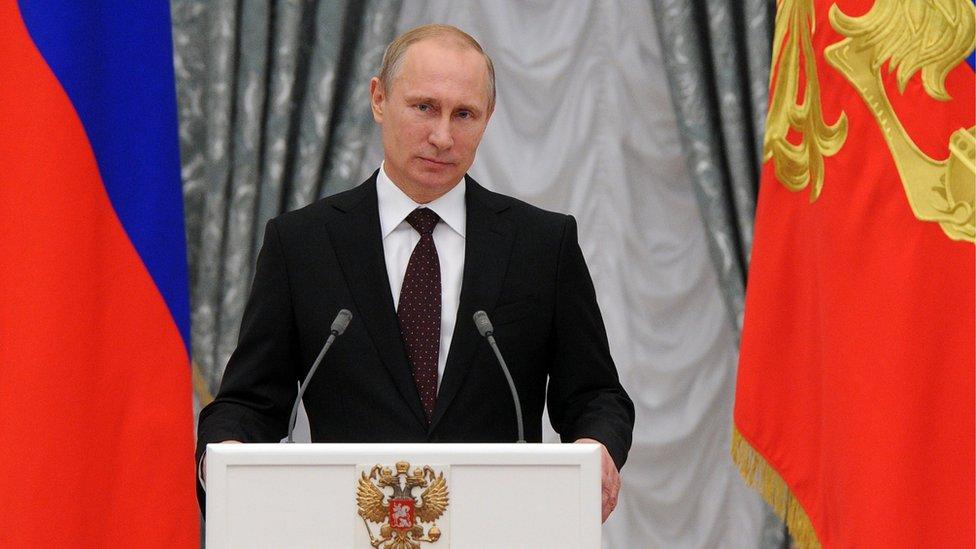 Vladimir Putin en el Kremlin.
