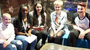 School Reporters Nana and Samirah with the R1 Teen Heroes Rosie, Alice and Aaren