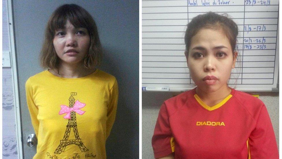 段氏香(左)與茜蒂·艾希亞(右)被捕後拍攝的檔案照片(皇家馬來西亞警察發放照片19/2/2017)
