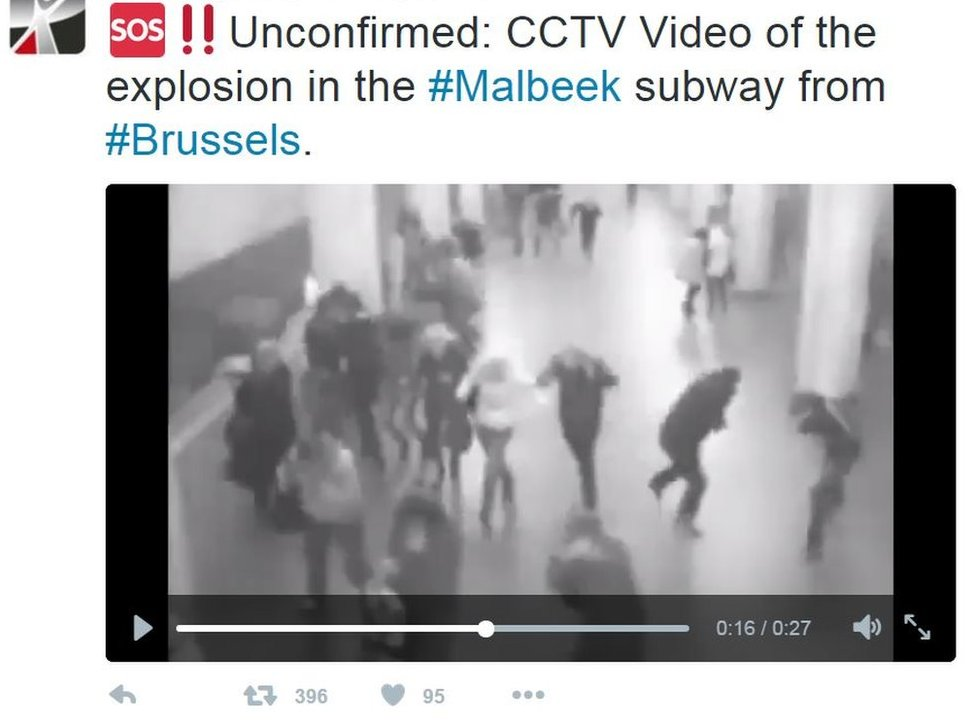 Tweet: Unconfirmed: CCTV Video of the explosion in the #Malbeek subway from #Brussels.