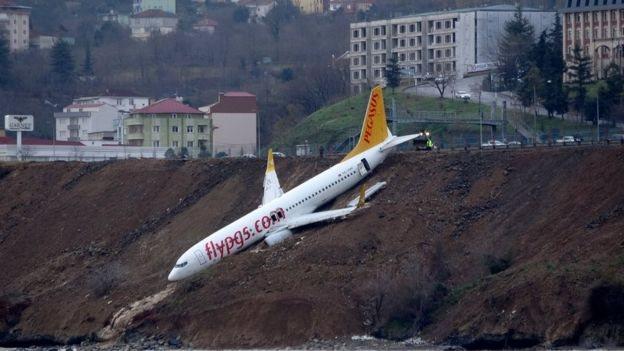 У Туреччині літак викотився зі смуги і завис над морем