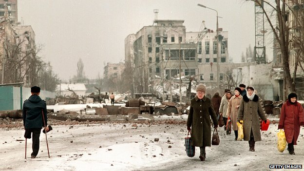 Chechen capital Grozny in ruins in 1996