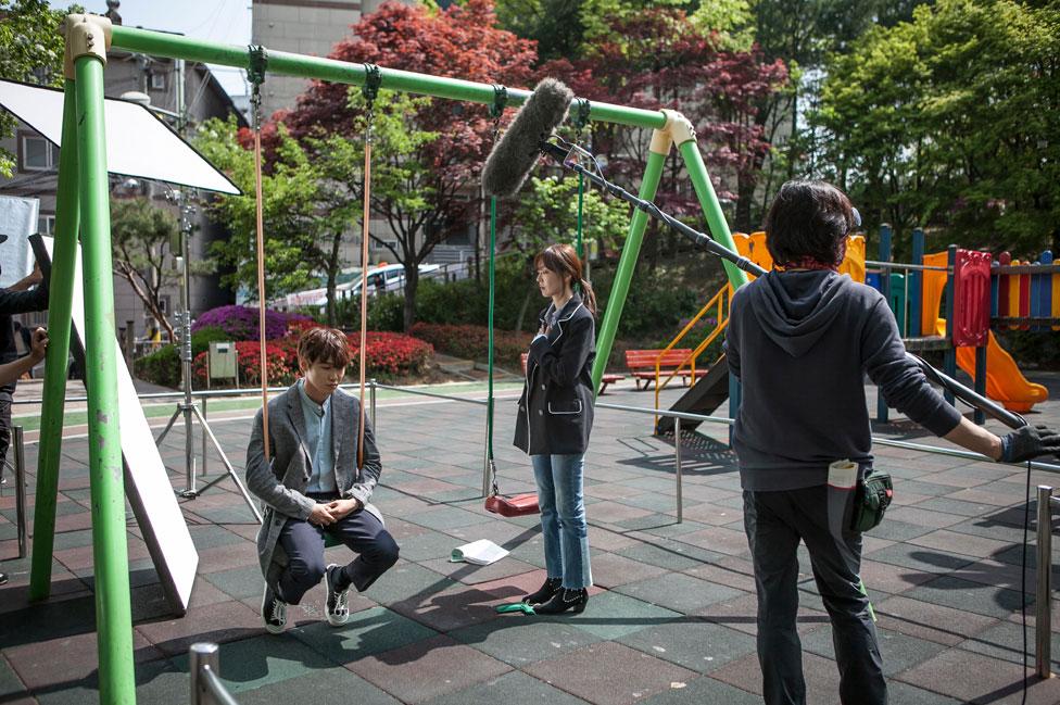 Filmación de un drama televisivo en Corea del Sur.