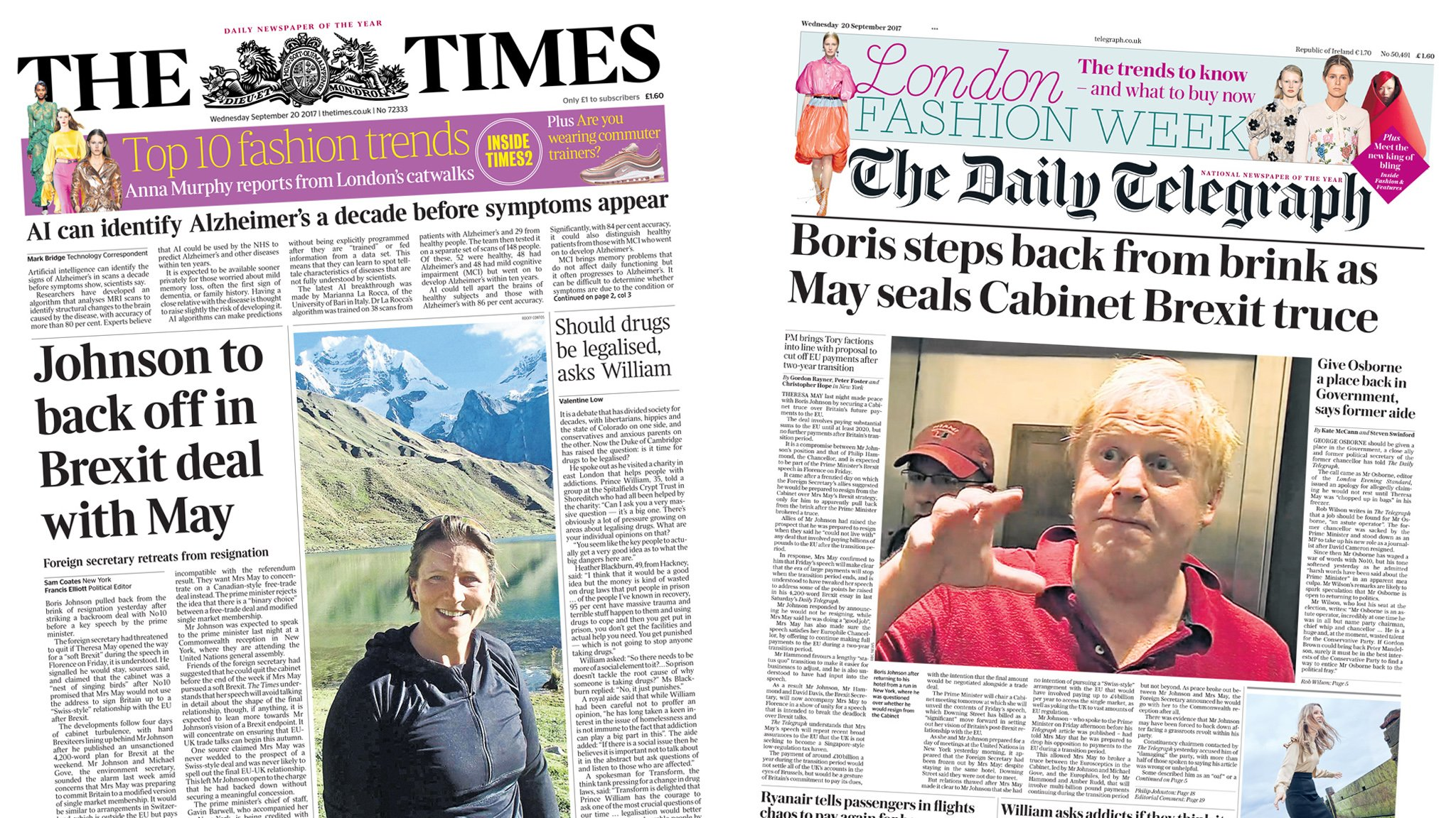 The Papers: Boris 'backs off' and Trump speech stuns