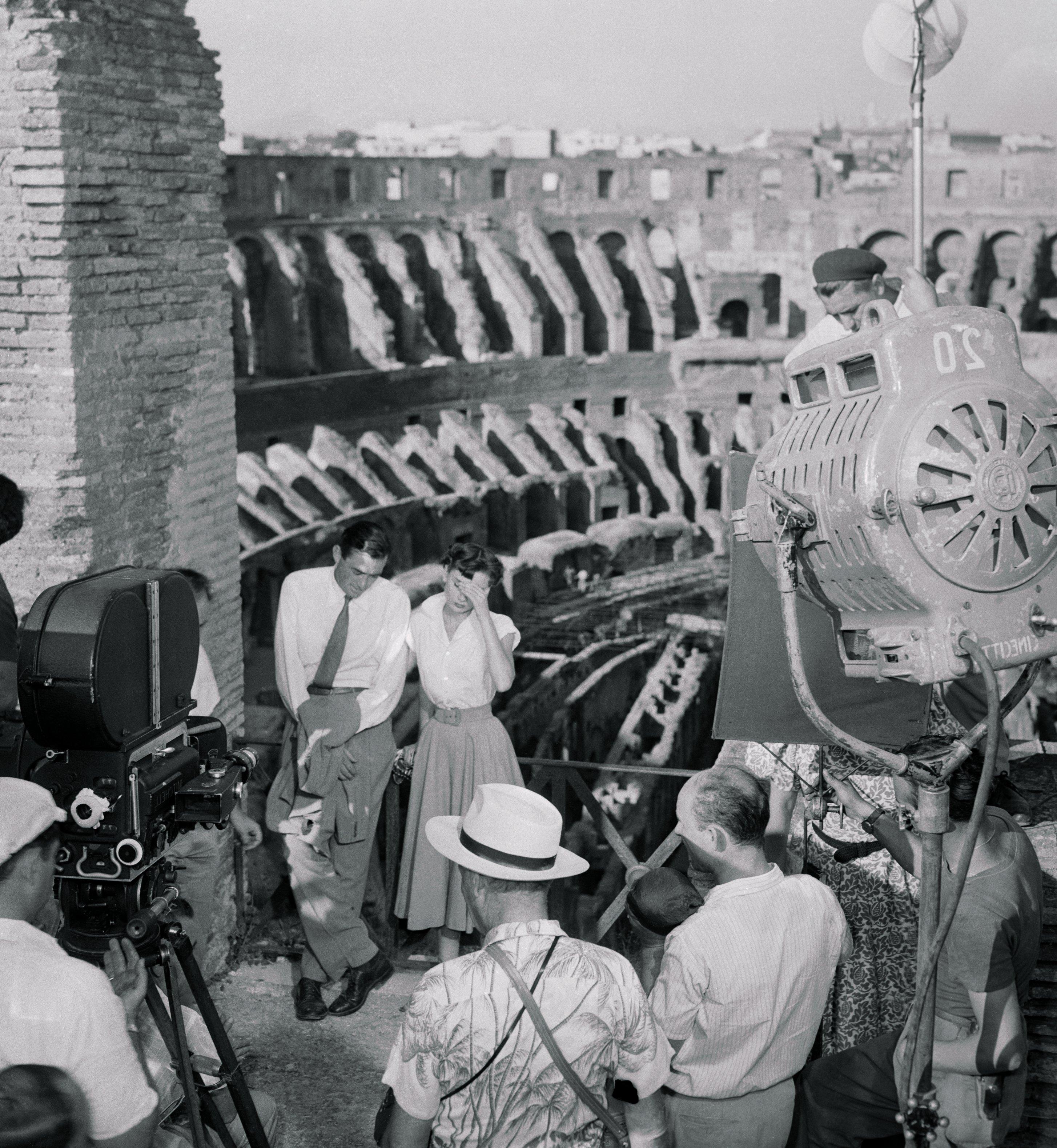 Filmación de Vacaciones en Roma, con Gregory Peck y Audrey Hepburn