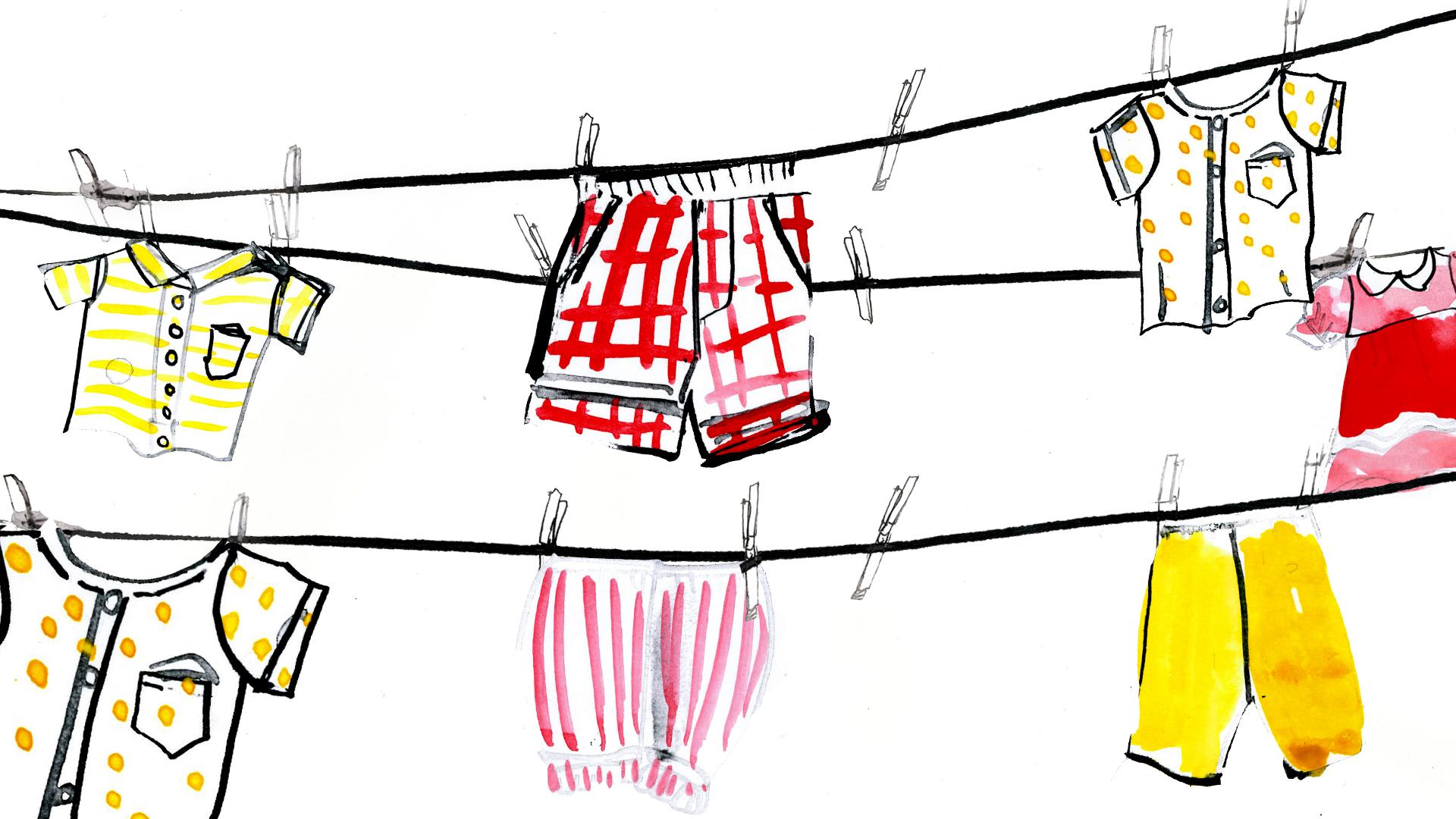 Ilustración de ropa de bebé guindada