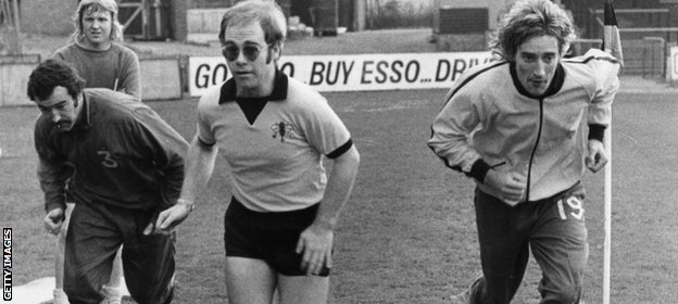 Sir Elton John and Rod Stewart at Vicarage Road