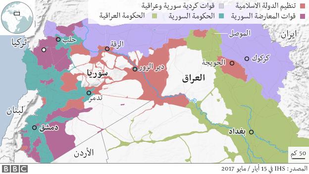 خارطة سوريا والعراق ومناطق تنظيم الدولة
