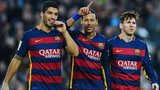 Barcelona goalscoring trio Luis Suarez (left), Neymar and Lionel Messi (right)
