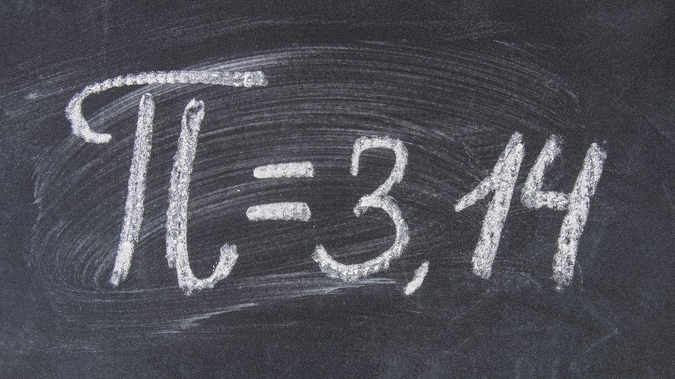 Pizarra con el símbolo de Pi y el número 3,14.