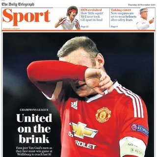 The Daily Telegraph focused on Manchester United's troubles in the Champions League
