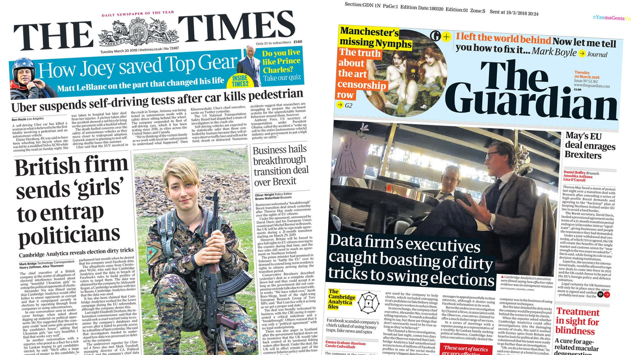 Newspaper headlines: Fresh claims against data firm and McPartlin rehab