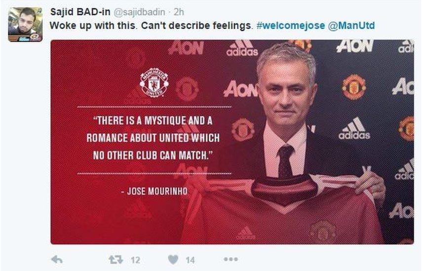 Welcome Jose tweet from Man U fan