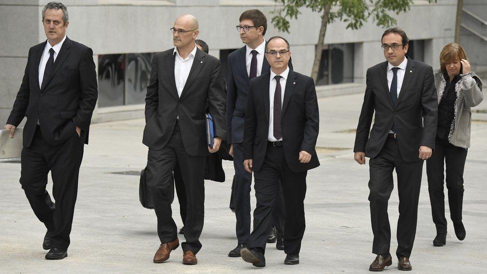 Miembros del depuesto gobierno regional de Cataluña declararon ante la Audiencia Nacional en Madrid este jueves.