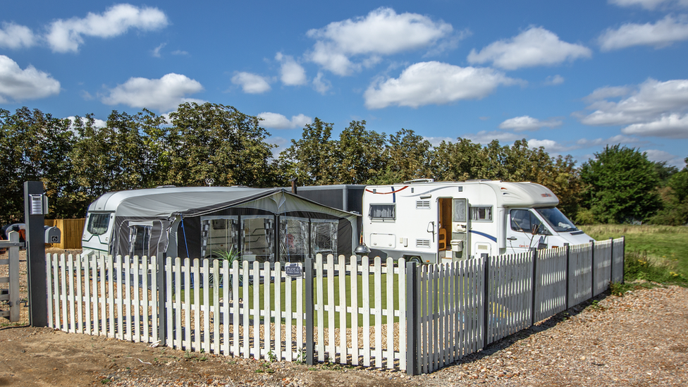 Two caravans on plot six of the land in Newark