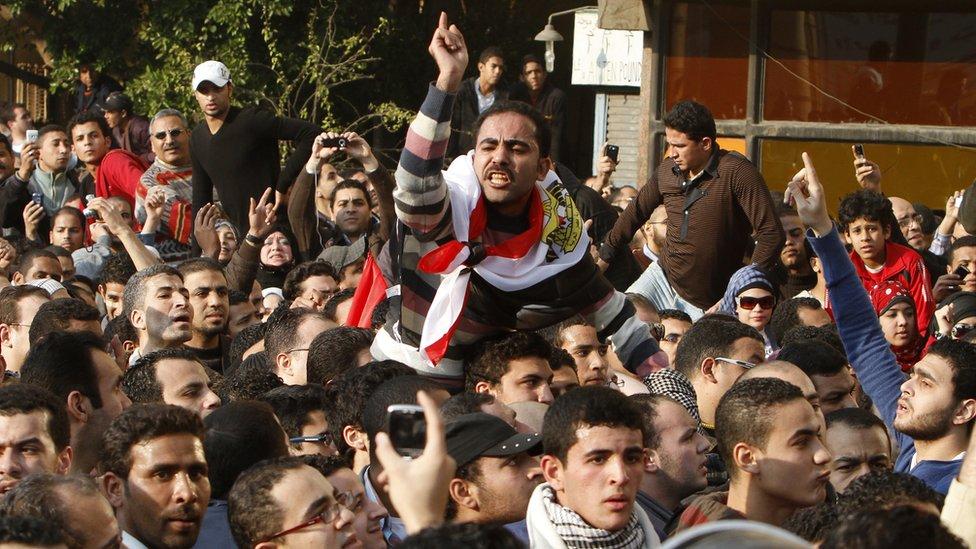 Protestas en Egipto durante la Primavera Árabe.