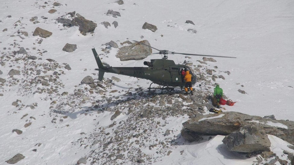 Members of the Polish K2 expedition rescue French climber Elisabeth Revol in Nanga Parbat