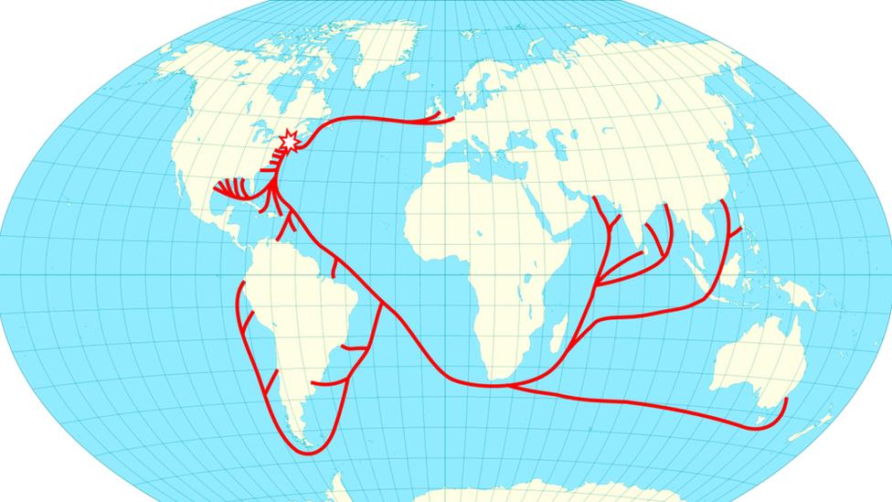 Mapa mostrando las rutas del hielo en 1856