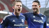 Aron Gunnarsson celebrates his goal with Sean Morrison