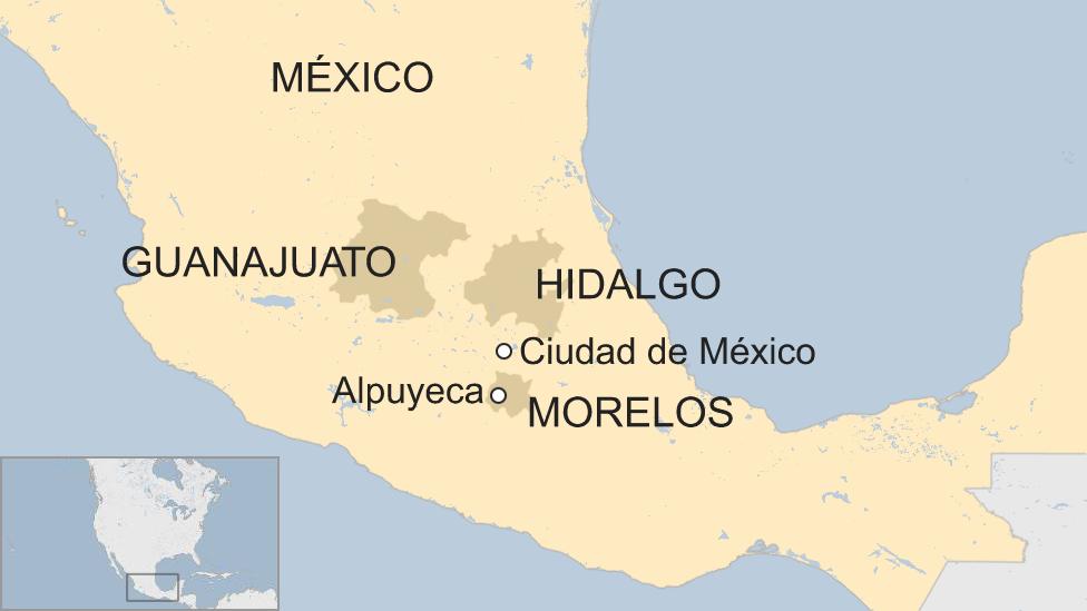 Mapa Alpuyeca, México.
