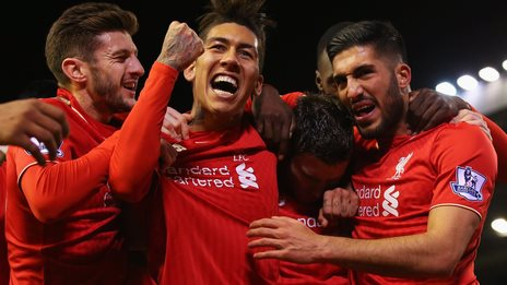 (left to right) Adam Lallana, Roberto Firmino and Emre Can