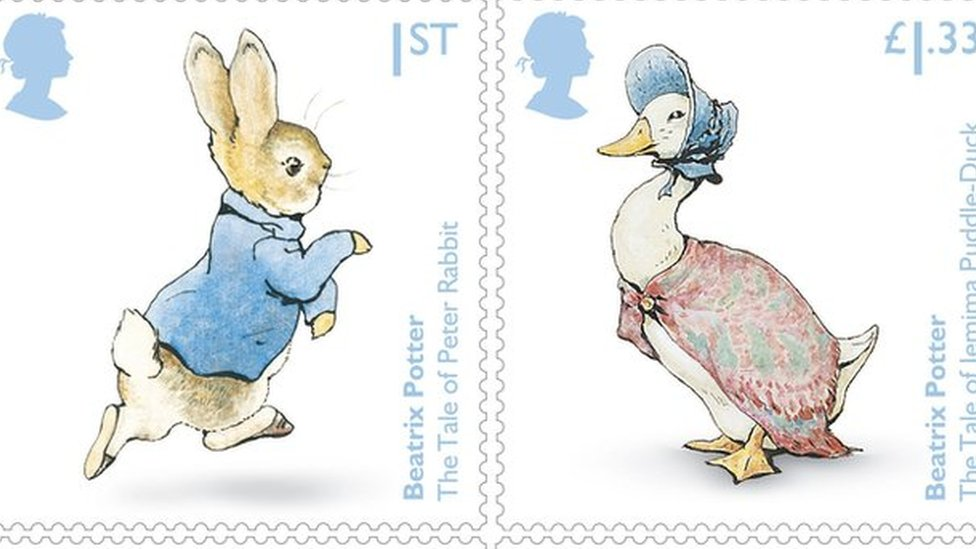 Beatrix Potter's Peter Rabbit and Mrs Tiggy-Winkle on anniversary stamps