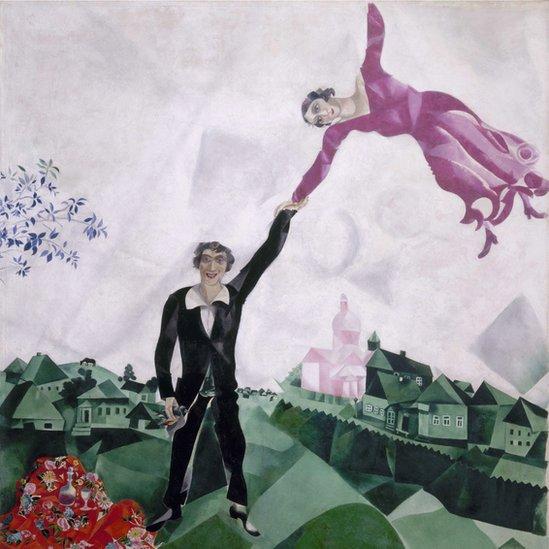 """Promenade"", de Marc Chagall (1917-18). Óleo sobre tela. Crédito: Royal Academy of Arts"