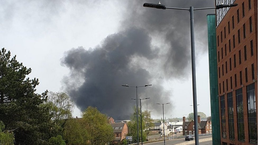 Explosions heard in Derby city centre after blaze