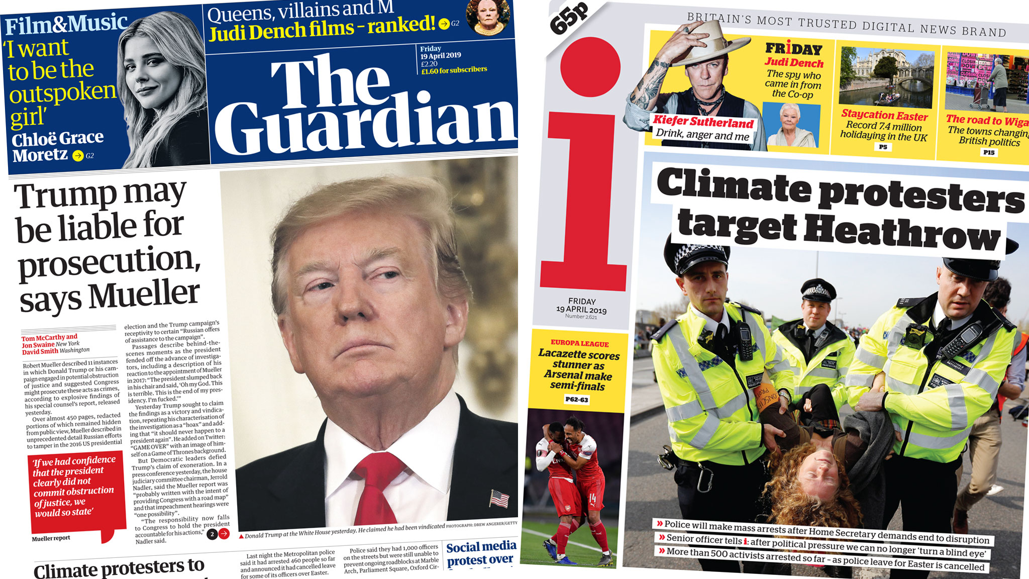 The Papers: Climate protests and Trump probe