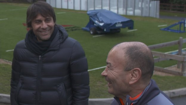 Antonio Conte: Chelsea boss meets England rugby union coach Eddie Jones