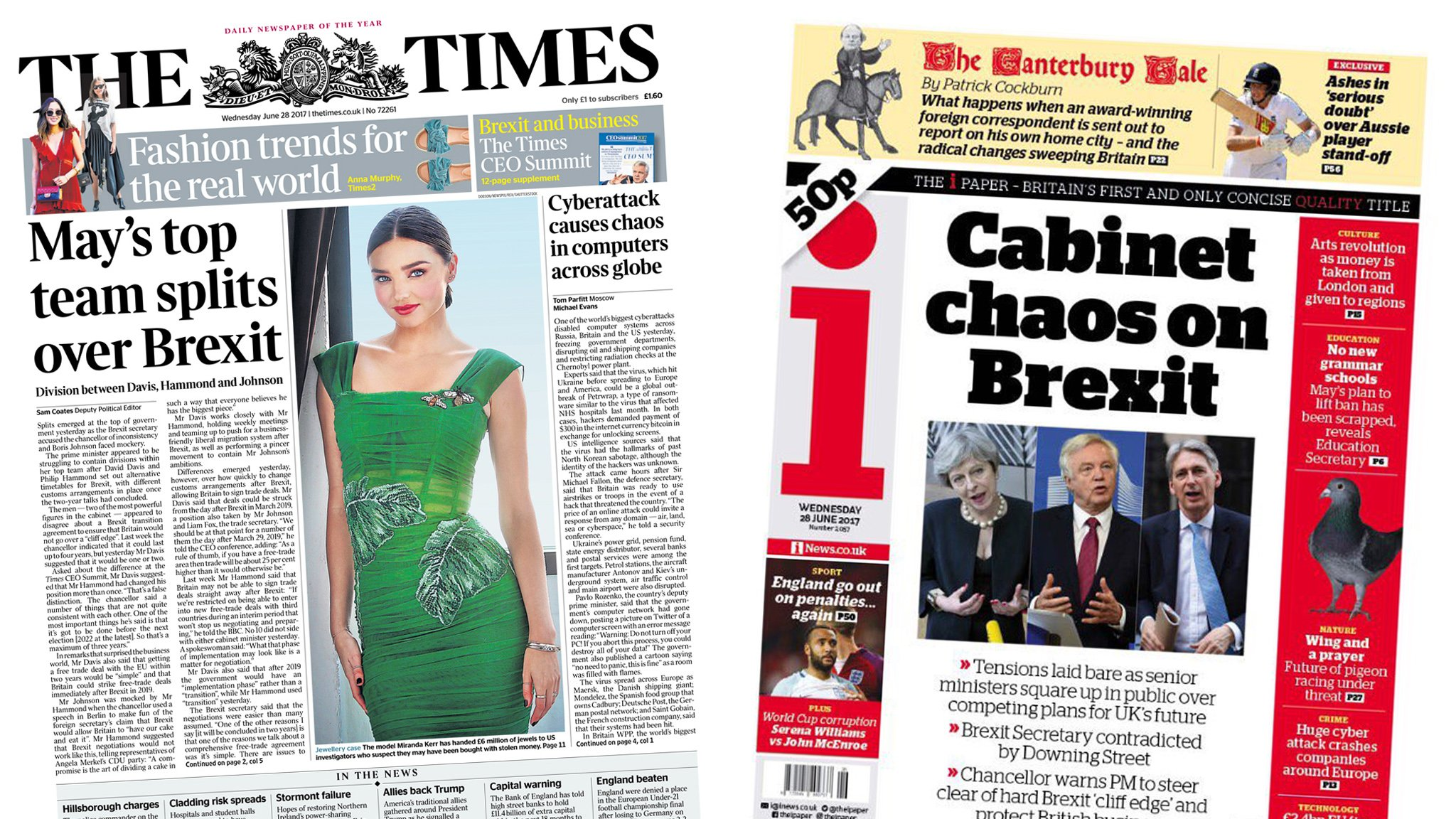 The Papers: 'May's top team split over Brexit'