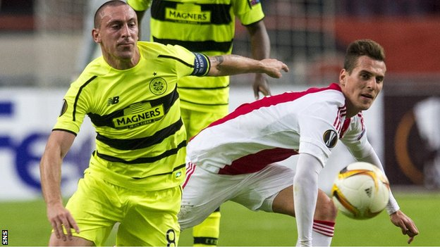 Scott Brown playing for Celtic against Ajax