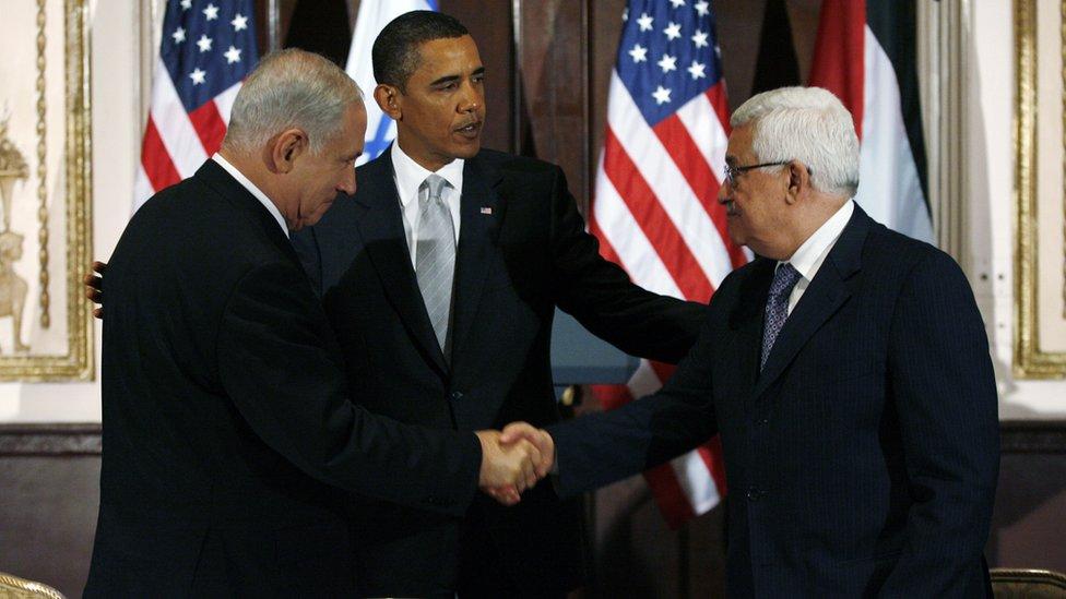 Benjamin Netanyahu, Barack Obama y Mahmoud Abbas en Nueva York.