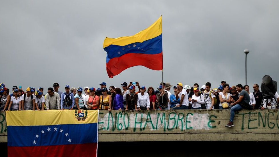 Protesta antigubernamental en Caracas.