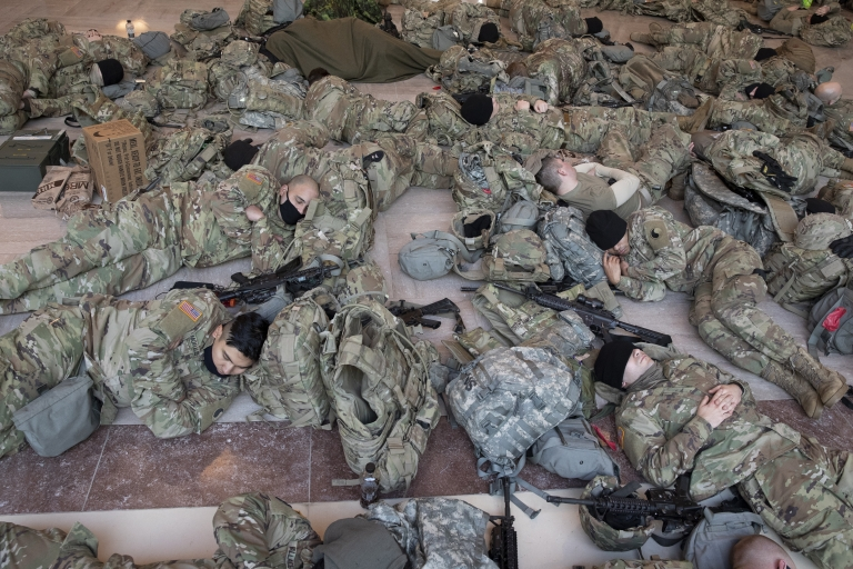 Hundreds of National Guard sleep on the floor