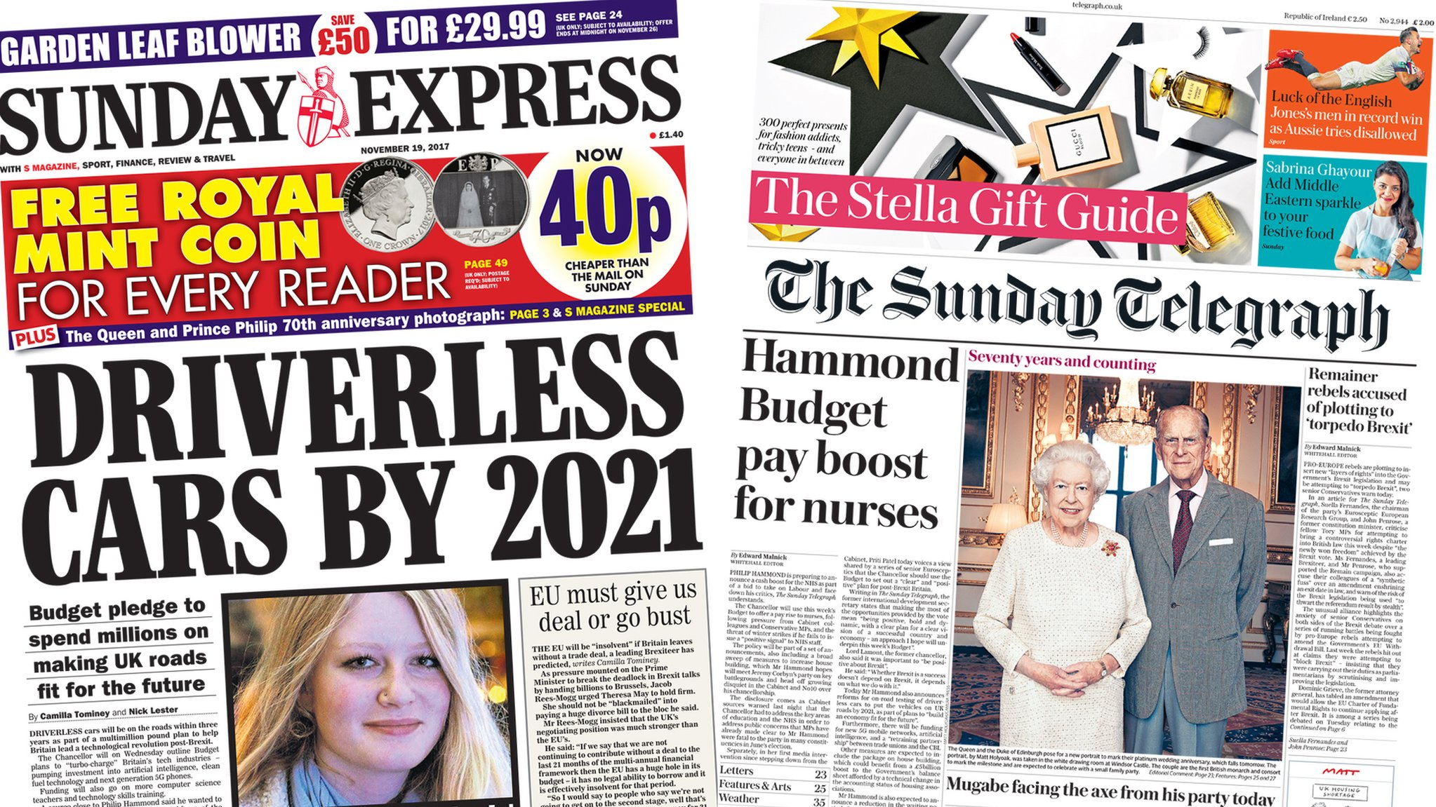 Newspaper headlines: Budget boost for driverless cars and NHS