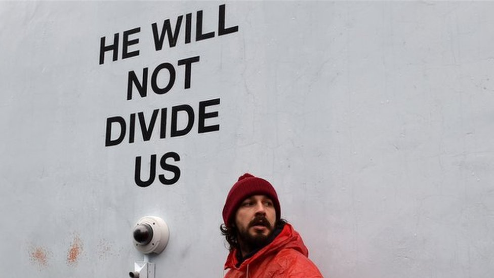 <![CDATA[Shia LaBeouf Trump protest shut down again after moving to Liverpool]]>