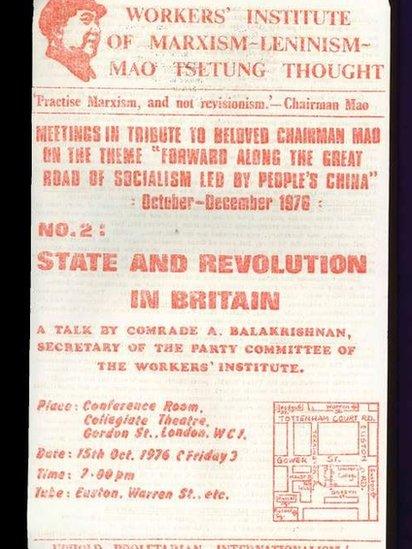 Volante del Instituto de trabajadores del pensamiento Marxista-Leninista- Mao Tsetung