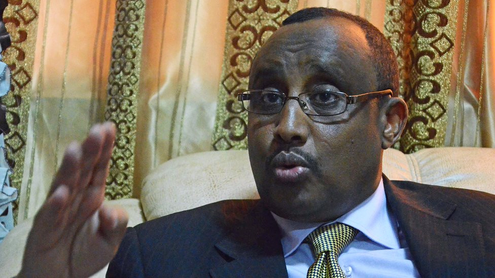 Somali Prime Minister and Puntland President Abdiweli Mohamed Ali speaks during an interview with AFP at his office in Mogadishu on 5 April 2012.