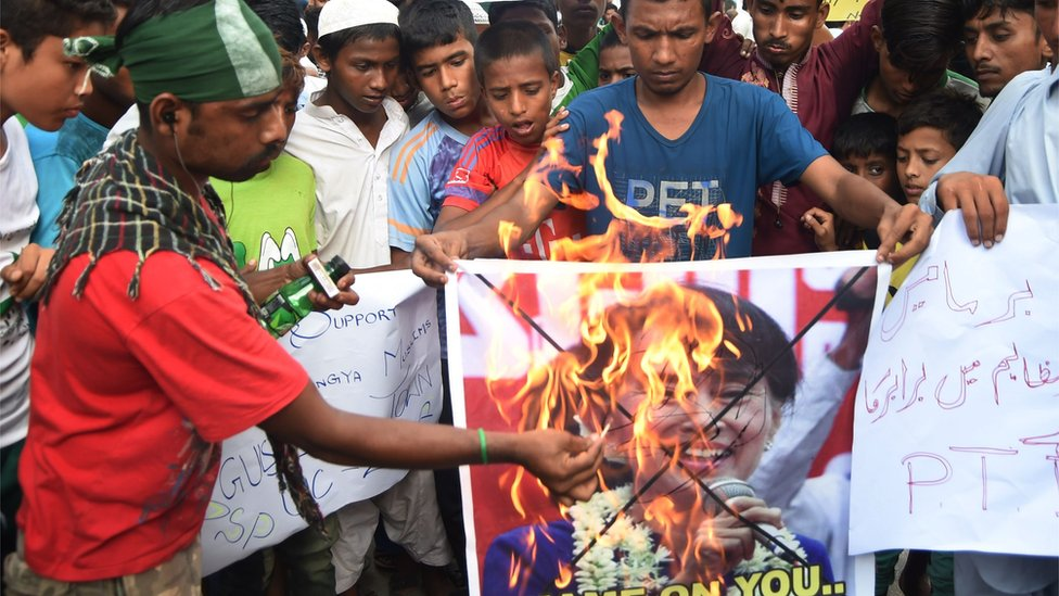 巴基斯坦抗議認識焚燒昂山素季的畫像
