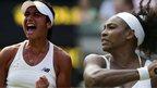 Heather Watson and Serena Williams at Wimbledon