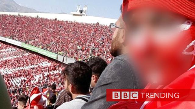 Iranian woman in Tehran soccer stadium