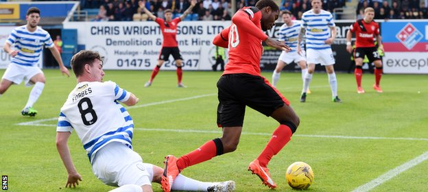 Nathan Oduwa won a penalty for Rangers after Ross Forbes' challenge
