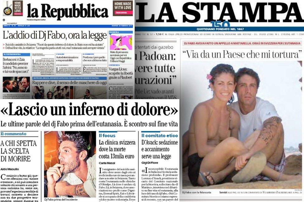 Los diarios italianos reflejaron la muerte de DJ Fabo