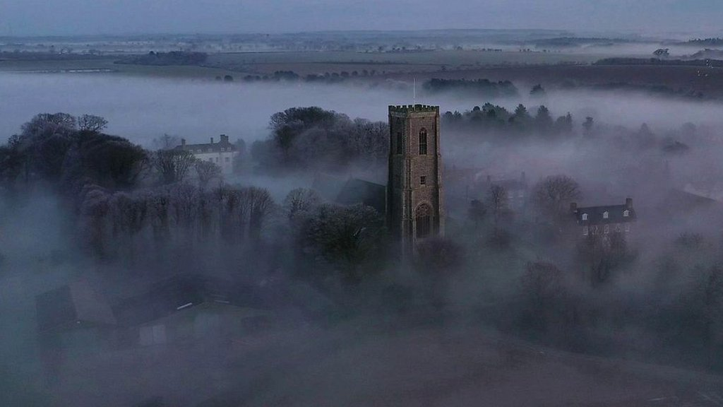 Drone captures Southrepps 'radiation fog' daybreak