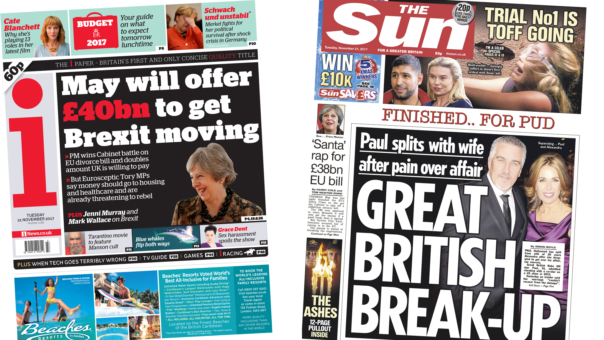 The Papers: £40bn Brexit bill and Bake Off star split