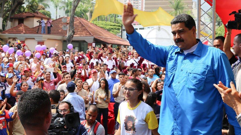 Nicolás Maduro en una concentración chavista